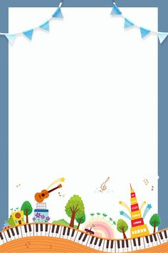 Various Instruments And Small Houses Piano Cute Literary Free Printable Stationery, Printable Recipe Cards, Music For Kids, Art For Kids, Small Houses, Houses Houses, School Border, Kids Awards, Artsy Background