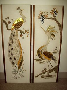 "Gravel Art Wall Hanging Pair Golden Peacock & Egret Mid Century 36"" Tall 