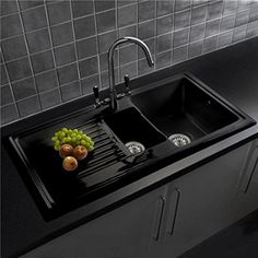 Reginox RL401CB 1.5 Bowl Black Ceramic Kitchen Sink - Fully Reversible