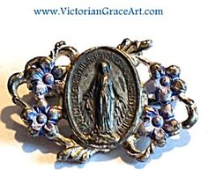 $38 Small vintage pin with violet blue enamel flower design and center Miraculous Medal featuring the Blessed mother Virgin Mary as Our Lady of ...