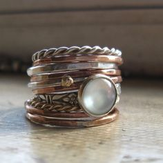 Rustic handmade stacking rings sterling silver bronze by tinahdee