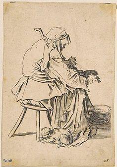 Inconnu, d'après Jacques Callot, Les Gueux : la vieille aux chats, 17e siècle? Eau-forte et burin, 13,6 x 9,5 cm (papier); 13,6 x 8,7 cm (image). Collection MNBAQ. #mnbaq #MuseumCats