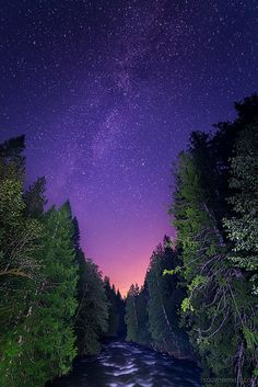 Milky Way Along the River ~ Viewed along the Chilliwack River (Canada) during a camping trip. Lights from a city within a sufficient proximity gave the stunning pink glow highlights. Photographer: James Wheeler/Flickr
