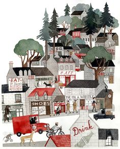 Spotlight: Carson Ellis Illustration from Wildwood written by Colin Meloy and illustrated by Carson Ellis - one of my fave illustrators!Illustration from Wildwood written by Colin Meloy and illustrated by Carson Ellis - one of my fave illustrators! Art And Illustration, Illustrations Posters, Portrait Illustration, Fashion Illustrations, Watercolour Illustration, Building Illustration, Christmas Illustration, Carson Ellis, Cover Art