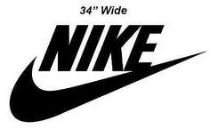 Nike Swoosh w/ Nike Word Die Cut Vinyl Wall Decal/Sticker Multiple Sizes