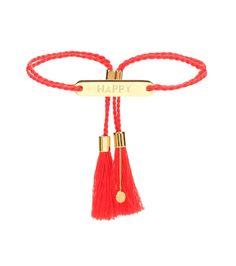 """Chloé - Armband Happy - Das Armband mit einer Plakette samt """"Happy""""-Gravur spiegelt den femininen Bohème-Spirit von Chloé perfekt wider: Die roten Kordeln, die an den Enden von einem goldfarbenen Schiebeverschluss zusammengehalten werden, verleihen ihm Leichtigkeit und Eleganz. seen @ www.mytheresa.com"""
