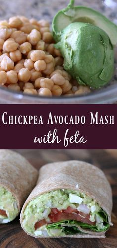 Chickpea Avocado Mash with Feta Chickpeas and avocado mashed together and then mixed with red onion and feta to create a delicious make-ahead vegetarian wrap or sandwich filling. This mash goes great with crackers or vegetables too.