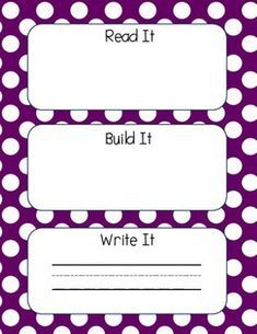 Read It, Build It, Write It by Giggles and Grading Kindergarten Language Arts, Homeschool Kindergarten, Kindergarten Writing, Preschool Learning, Kindergarten Classroom, Teaching, Homeschooling, Classroom Ideas, Name Activities