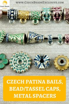 ? Czech Patina Bails, Bead/Tassel Caps, Metal Spacers  6 Popular Colors! Czech Patina Metal Spacers, Bails, Bead/Tassel Caps! - Buy now with discount! www.CzechBeadsExclusive.com/+czech+patina  Hurry up - sold out very fast! SAVE them! #czechbeadsexclusive #czechbeads