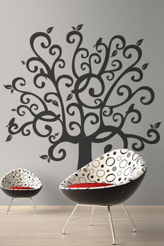 Wall Decals Whimsical Tree, Customize Colors, Description:A great addition to any room that can use an element elegance