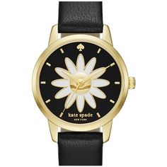 Women's Kate Spade New York 'Metro - Flower' Leather Strap Watch, 26Mm (255 CAD) ❤ liked on Polyvore featuring jewelry, watches, accessories, daisy jewelry, flower jewelry, white dial watches, white jewelry and blossom jewelry