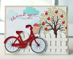 Thank You Teacher Bike Card by Betsy Veldman for Papertrey Ink (May Cute Cards, Diy Cards, Bicycle Cards, Karten Diy, Teacher Cards, Marianne Design, Stamping Up Cards, Card Making Inspiration, Copics