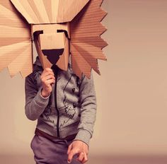 10 DIY Cardboard & Paper Masks for Halloween is part of Cardboard crafts Mask - These 10 super creative paper mask ideas are sure to spark your imagination this Halloween! Cardboard Mask, Cardboard Paper, Cardboard Crafts, Diy Paper, Cardboard Costume, Paper Toys, Diy Halloween, Masque Halloween, Halloween Costumes