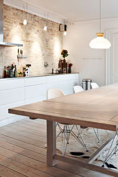 Exposed brick, wood and white