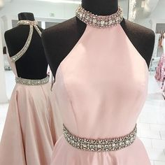 Pearl Pink Open Back High Neck Floor-Length Prom Dress with Beading