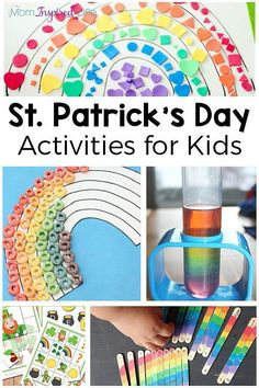 Patrick's Day Activities for Kids - St. Patrick's Day activities for kids. Colorful activities for fun and learning. Patrick's - Rainbow Activities, Spring Activities, Holiday Activities, Craft Activities For Kids, Learning Activities, Preschool Activities, Preschool Prep, Senior Activities, Color Activities
