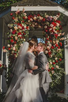 Stunning floral focal point for this outdoor wedding.   Glamourous Rose Gold Garden Wedding, CJ's Off the Square Franklin, TN  Venue: CJ's Off the Square Flowers: The Enchanted Florist Rentals: Southern Events Party Rental Cake: Wolfe Gourmet Cakes