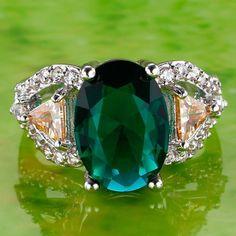 Oval Cut Green Topaz Morganite Gemstone Silver Ring