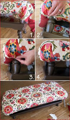 DIY - Turn a coffee table into an ottoman. Perfect face-lift for my old coffee table!