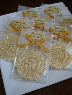 8 Chocolate 50 Gold Dusted Decorative Favors By Rosebudchocolates 50th Anniversary FavorsAnniversary PartiesAnniversary IdeasWedding