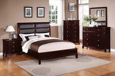 Dark Cherry Queen Bed - Orange County Furniture Warehouse, F9175