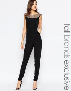 Image 1 of Paper Dolls Tall Plunge Back Jumpsuit With Sequin Trim