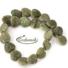 Connemara Marble  19mm heart  half strand 7.5 by Craftemall, $25.00