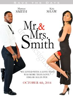 Mr. and Mrs. Smith, (soon to be) This Save the Date session is in the style of the movie, Mr. and Mrs. Smith with Brad Pitt and Angelina Jolie.