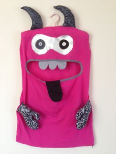Monster Laundry/Toy Bag, Beautiful Pink and Black Double Eye Friendly Monster, I'm a Pet, Bag, Softie dress up girl christmas bday present by ColourMeldDesigns on Etsy