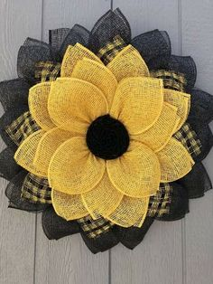 Yellow Sunflower Door Decor Patio decor Front Door Wreath Country Flower Wreath Mother's Day Burlap Crafts, Wreath Crafts, Diy Wreath, Tulle Wreath, Wreath Ideas, Wreath Burlap, Chevron Burlap Wreaths, Burlap Wreath Tutorial, Wreath Making