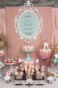 Bridal Shower Theme Ideas  OMGOODNESS! I love this candy/dessert table! Colors and allllll!!!!