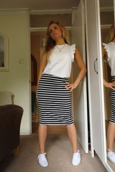 One item styled 4 ways - plain white trainers Trainers, Pretty, Skirts, Style, Fashion, Tennis, Swag, Moda, Skirt