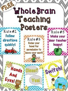 These fun and colorful posters are a great reminded of the Whole Brain Teaching Rules and Procedures! Just print, laminate, and display in your classroom. :)You might also like my Whole Brain Teaching Rule Book Freebie!Visit the Whole Brain Teaching website for more information and resources!