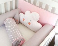 Jogo de cama rosa e cinza