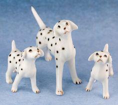 Vintage Mini Miniature Bone China Dalmatian Set of 3 Dog Family Figurines Shiken Japan. $18.99, via Etsy.