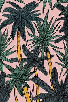 Palm Print, pink & green, summer tropic vibes