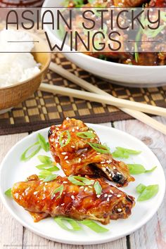 Get your game day grub on with these Asian Sticky Wings! They're the perfect appetizer or snack food! #12bloggers:
