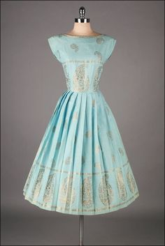 vintage 1950s dress . turquoise cotton . by millstreetvintage