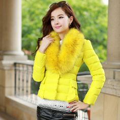 2014 New Winter Warm Women Down Jacket Casacos Femininos Inverno Thick Outerwear Fashion Long Sleeve Fur Coat Jackets Plus Size $36.98