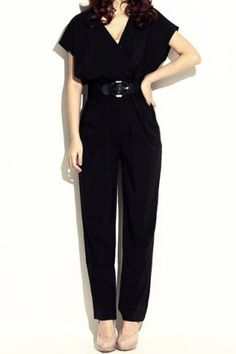 Women Ladies Elegant Short Sleeve V-neck Exotic Jumpsuit Pants Shirts Playsuit With Waistband(Black)Jumpsuits & Rompers | RoseGal.com