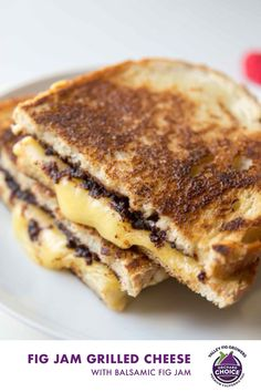 Make gourmet grilled cheese at home with easy balsamic fig jam. When you make grilled cheese with mayo the bread gets golden and crisp. #valleyfig #grilledcheese #figjam Making Grilled Cheese, Best Grilled Cheese, Grilled Cheese Recipes, Dried Fig Recipes, Jam Recipes, Sandwich Recipes, Yummy Recipes, National Grilled Cheese Day, Gourmet
