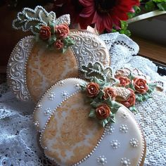Autumn deco. Pumpkins in stenciled orange lace, and piped white filagree lace, with orange roses by Teri Pringle Wood