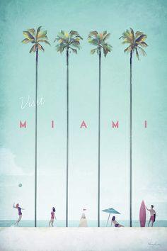 Vintage travel poster of Miami, Florida. Original Miami Beach vintage travel poster by Henry Rivers. Buy a premium poster online! Framed Art Prints, Poster Prints, Graphic Art Prints, Vintage Art Prints, Retro Poster, Kunst Poster, Travel Illustration, Digital Illustration, Art Graphique