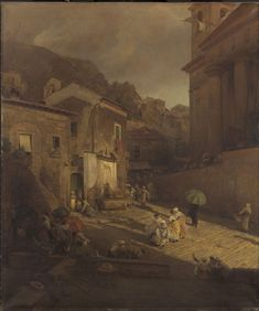 Oswald Achenbach – Street Scene, Naples, c. Oil on canvas 51 x 43 inches x cm) Accession Number: The W. Wilstach Collection, bequest of Anna H. Wilstach, 1893 Philadelphia Museum of Art Philadelphia Museum Of Art, Southern Europe, European Paintings, Grand Tour, Romanticism, Ancient Civilizations, Naples, Oil On Canvas, 19th Century