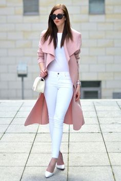 A Blush Trench Coat Is The Perfect Statement Piece - Outfits for Work Sleeveless Trench Coat, Pink Trench Coat, Trench Coat Outfit, Spring Work Outfits, Fall Outfits, Casual Outfits, White Outfits, Heels Outfits, White Heels Outfit