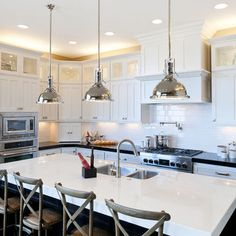 build out above stove -- built in microwave  Kitchen 9 foot ceilings Design Ideas, Pictures, Remodel and Decor