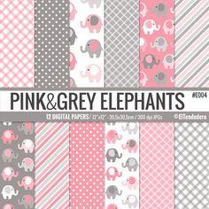 Papeles digitales con elefantes rosas y grises para por eltendedero