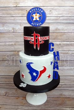 Houston Astros, Rockets, and Texans themed fondant cake.
