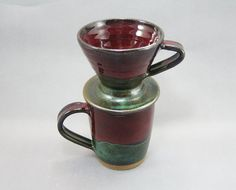 Pottery Coffee Mug & Pour Over Filter Red - Green to Black REDGTB43