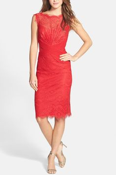 Beautiful red lace dress for a romantic Valentine's Day date.